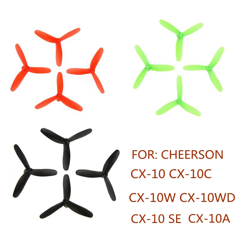 3-leaf Propellers For Cheerson Cx-10 Cx-10a Cx-10c Cx-10w Cx-10wd Cx-10SE Propeller Rc Quadcopter Kits Rc Drone Parts3-leaf Propellers For Cheerson Cx-10 Cx-10a Cx-10c Cx-10w Cx-10wd Cx-10SE Propeller Rc Quadcopter Kits Rc Drone Parts