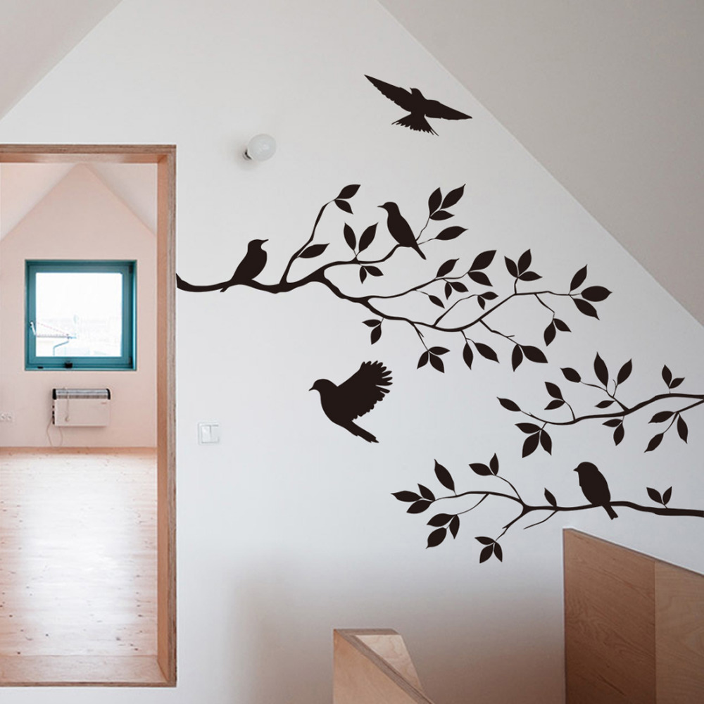 60 35cm Black Bird Tree Branch Monster Wall Paper Decals Removable