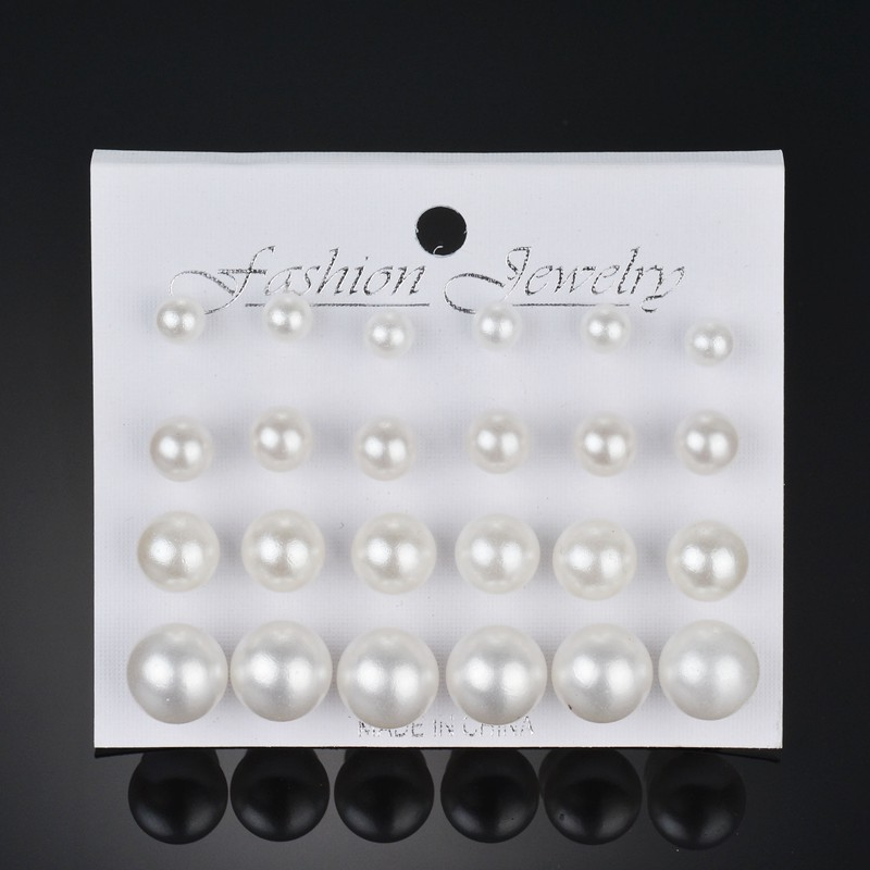 New 12 pairs/set White Simulated Pearl Earrings Set For Women Wedding Jewelry Accessories Piercing Ball Stud Earrings brincos