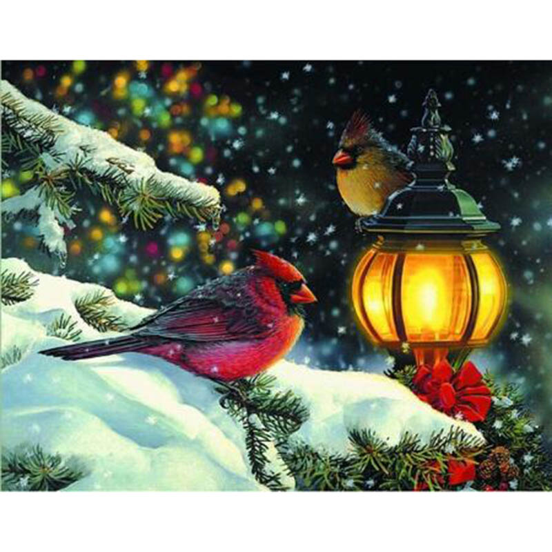 5D DIY Diamond Painting Bird On Christmas Tree Icon Full Diamond Embroidery Cross Stitch Rhinestone Mosaic Painting Gift RY370