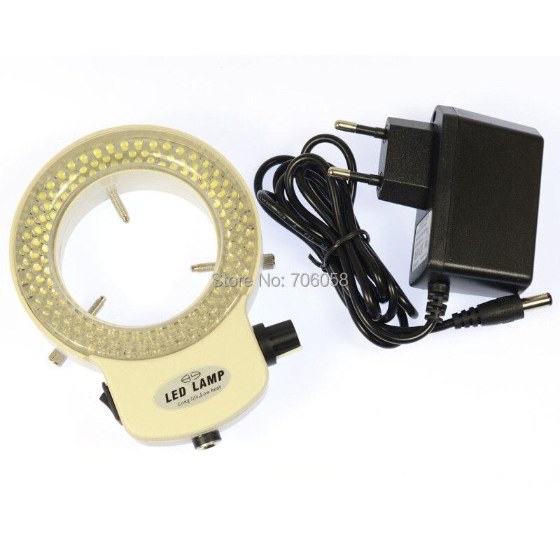 Réglable 144 led lumière annulaire illuminateur Lampe Pour L'industrie microscope stéréo Numérique loupe d'appareil photo avec adaptateur secteur Blanc