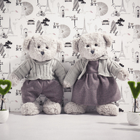 Nooer 2 Pcs Lover Teddy Bear With Sweater Plush Toy Valentine Teddy Bear Soft Kids Toy