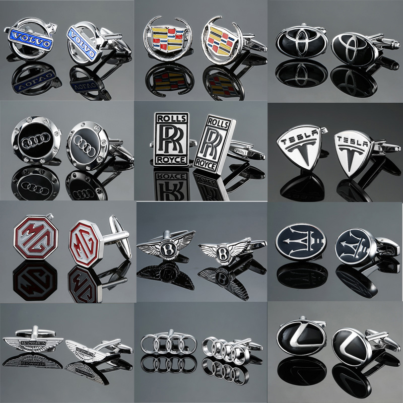 DY New high quality brass material high-grade luxury car brand logo Cufflinks fashion men's shirts Cufflinks free shipping