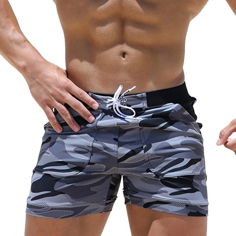 SHUJIN Brand Casual Mens Beachwear   Shorts   Male's Bandage Printing Camouflage Basic 2019 Summer Beach   Shorts   Boxer Mens   Shorts