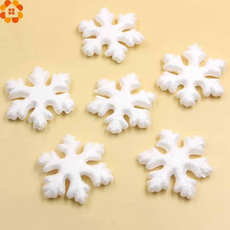 New!10PCS 75MM Christmas Snowflakes White Foam Snowflake Ornaments For Home Party Decorations DIY Supplies Kids Gift