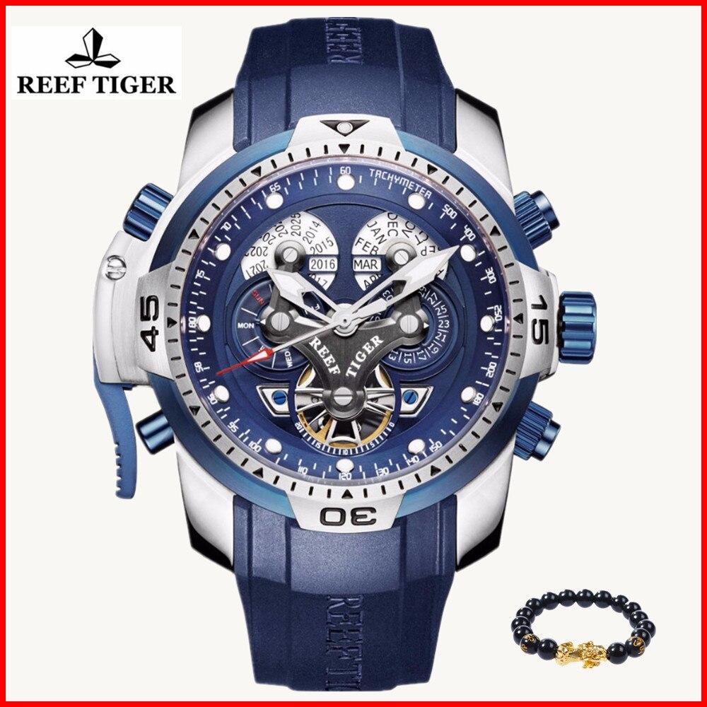 الشعاب النمر/RT الرياضة العسكرية ووتش للرجال المطاط الأزياء الأزرق ساعة مزدوجة توربيون 100 M للماء ساعات آلية RGA3503-في الساعات الرياضية من ساعات اليد على  مجموعة 1