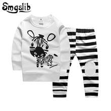 Купить с кэшбэком Smgslib Newborn toddler baby boy clothes long sleeve cartoon zebra infant clothing baby boy girl clothes pajamas sports suit