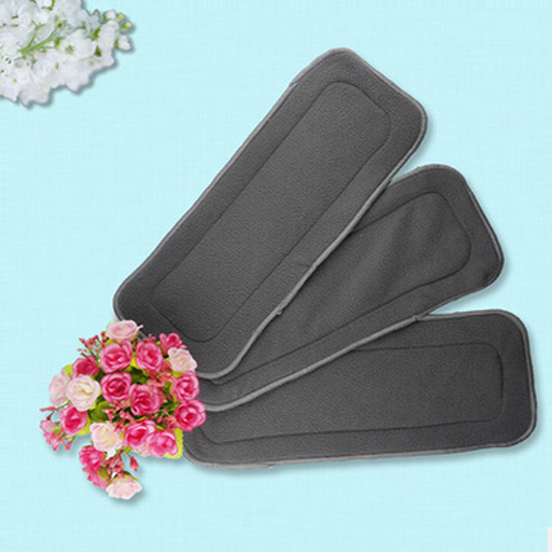 4Layers Bamboo Charcoal Cloth Diapers Inserts Nappy Changing Mat Black Baby Diapers Reusable Diaper Changing Pad