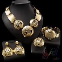 Italian Costume Jewelry Sets 22 caret gold color fashion jewelry smooth copper jewellery set