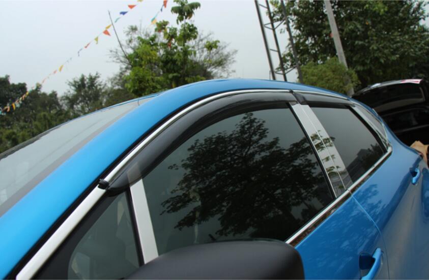 NEW! 4pcs Door Sun Window Visor Deflectors Rain Shield Sun Guard For Renault Captur 2015 2016 2017 4pcs set smoke sun rain visor vent window deflector shield guard shade for hyundai tucson 2016