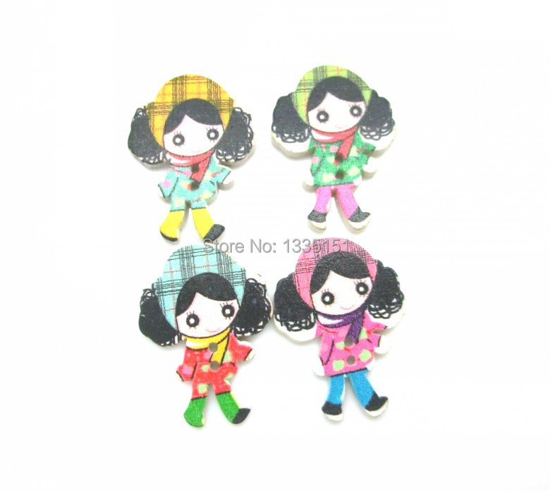 Free shipping -100Pcs Random Mixed Wood kawaii children Sewing ...