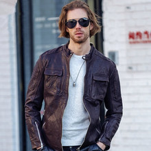 2017 New Men Stand Collar Black Leather Biker Jackets Genuine Sheepskin Slim Fit Plus Size3XL Men Motorcycle Coat FREE SHIPPING