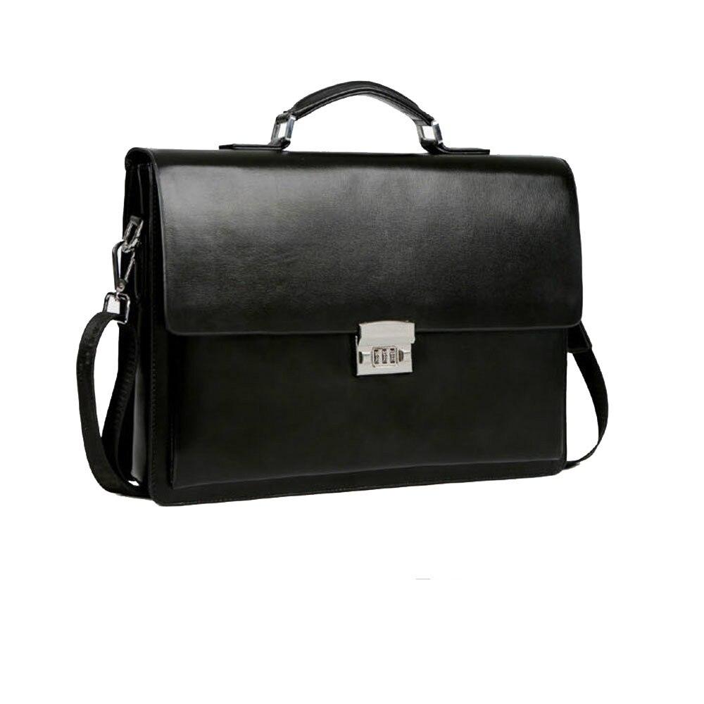 Homme d'affaires sac Theftproof Lock mallette en cuir synthétique polyuréthane sac haute qualité en cuir ordinateur portable sacs à main homme luxe sac sacs à bandoulière