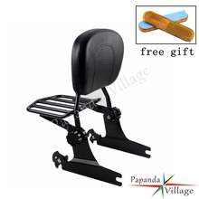 Papanda Motorcycle Black Sissy Bar Adjustable Luggage Rack Detachable Backrest Pad Custom for Harley Softail Models 2000-UP