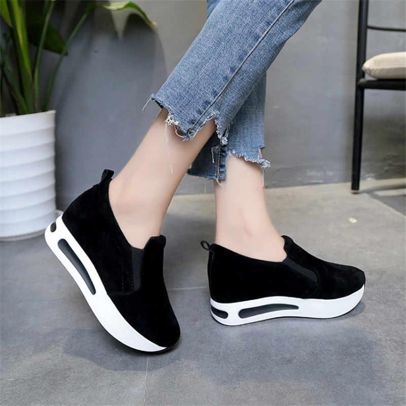 COOTELILI kadın platformu kama pompalar orta topuklu Faux süet ayakkabı yuvarlak Toe Slip-On rahat ayakkabılar kadın Oxfords artı boyutu 40