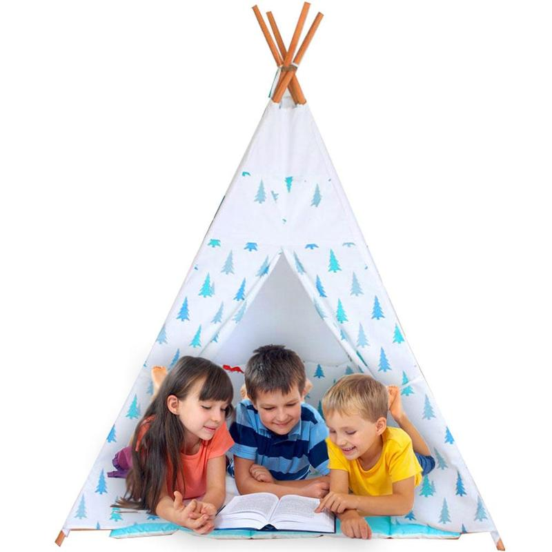 Dongzhur Four Poles Kids Play Tent Cotton Canvas Teepee Children Outdoor Toy Tent White Green Play House For Baby Room Tipi Tent