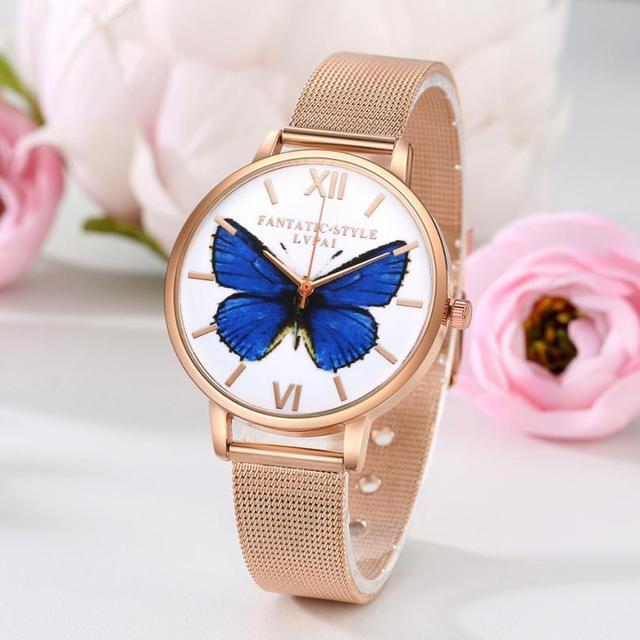 LVPAI Top Brand Women Butterfly Watches Women Stainless Steel Ladies Wrist Watch