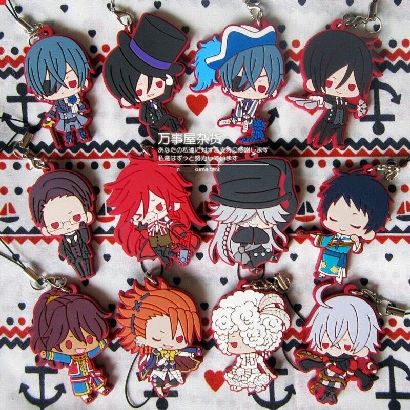 Ciel Phantomhive Sebastian Joker Doll Dagger Grell Undertaker Bean Eye Ver Anime Black Butler Rubber Keychain In Action Toy Figures From Toys Hobbies