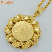 6 9CM Big Coin Pendant Necklaces Women Men Franc IOS I D G Avstriae Imperator 18k