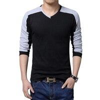 Men Long Sleeve T shirt Mens Brand New V neck Tshirt Men's Cotton Tees Tops patchwork Plus size 5XL Shirts camiseta