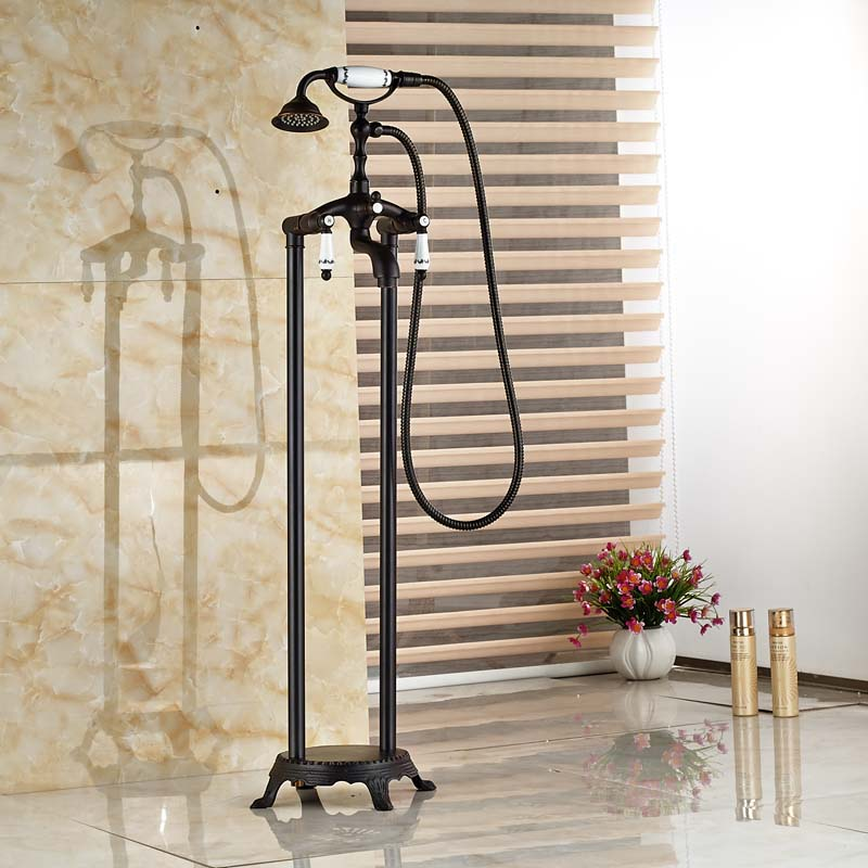 Oil Rubbed Bronze Free Standing Claw foot Bath Tub Filler Faucet ...