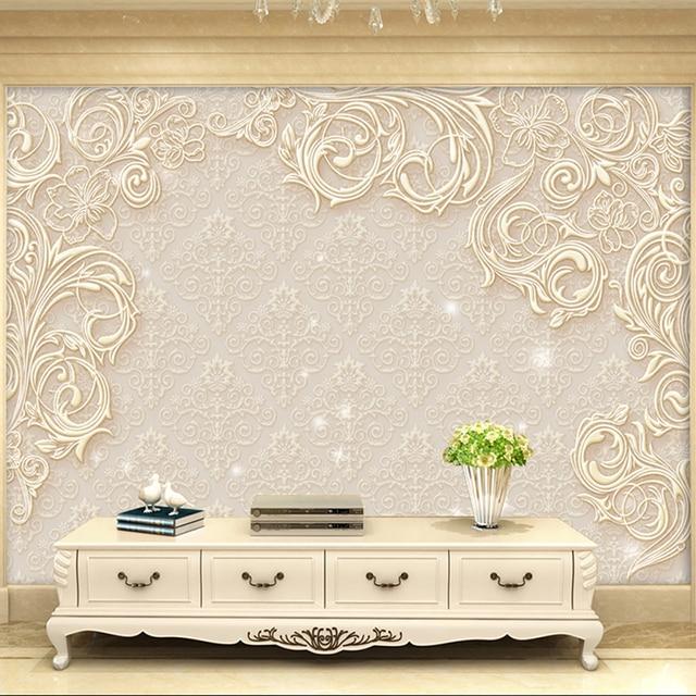 Beige Kustom Modern 3d Stereo Foto Kertas Dinding Minimalis Ruang