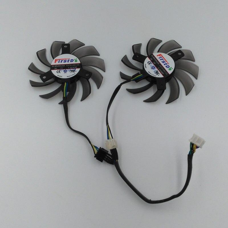 New Original Firstdo Brushless FD7010H12S 12V 0.35A VGA Card Cooling Fan For ASUS Sapphire 650TI GTX660 670 680 770 HD7870 etc. original delta tfc1212de 12cm 12038 12v 3 9a 252cfm winds of booster pwm fan violence for bitcoin miner super cooling