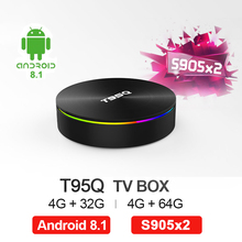 T95Q Android 9.0 TV Box 4G32 4G64G LPDDR4 Amlogic S905X2 Quad Core 2.4G&5GHz Dual Wifi BT4.1 1000M H.265 4K Media Player tv box