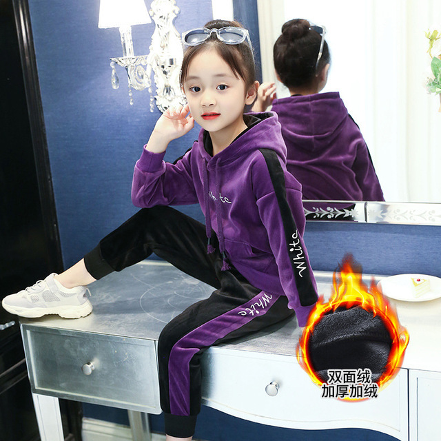 Kids Winter Clothes Girls Hoodies+sport Pants 2 Pieces Girls Clothing Sets 2018 Kids Tracksuits Children Jacket Clothing MC21