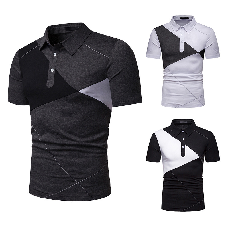 HuLooXuJi Summer Men   Polo   Shirt Business Casual Pactwork Stitching Color Male Short Sleeve Breathable Shirts US Size:S-2XL