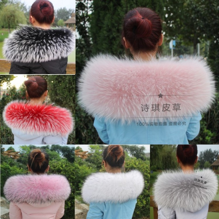 76X20CM 100% Genuine Real Natural Raccoon Fur Collar Women Scarf Fashion Coat Sweater Jacket Hoodie Scarves Luxury Neck Cap R6