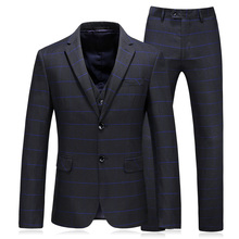 plaid wedding suits for men slim fit groom tuxedos fashion 2018 spring black tuxedo good quality