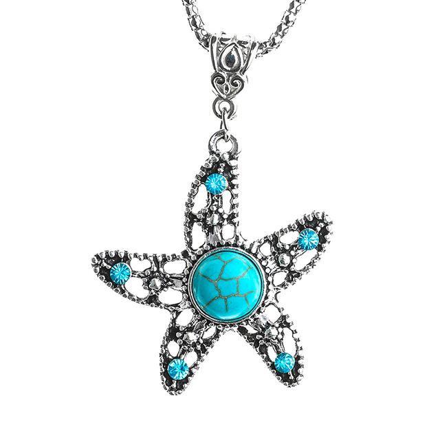 Shuangr green resin stone starfish pendant necklace silver color shuangr green resin stone starfish pendant necklace silver color crystal trendy necklace jewelry for women aloadofball Choice Image