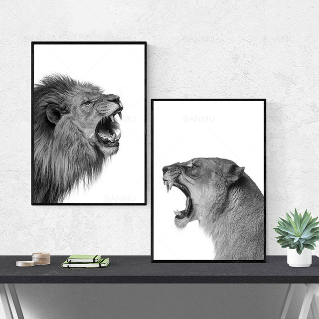2 pieces Lion and Lioness Poster Canvas Painting Black White Woodlands Animal Wall Art Print Picture for Living Room home decor
