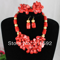 2014 New African Wedding Bridal Jewelry Set Coral Gold Pearls Costume Jewelry Set Free Shipping CJ033