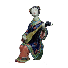 Pure Manual Chinese Style Female Statue Pipa Ceramic Ornaments Ladies Ancient Figures Crafts Office Sculpture