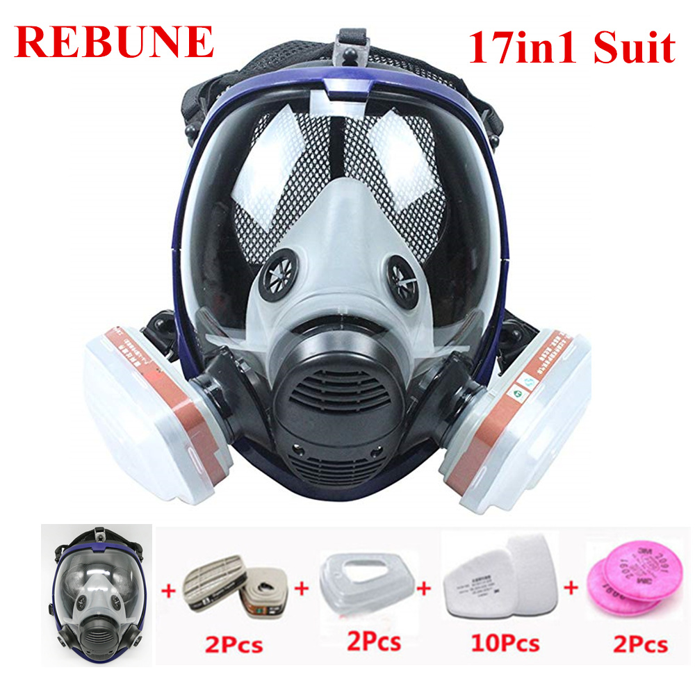 REBUNE 17 In 1 Suit Full Face Mask For 6800 Gas Mask Full Face Facepiece Respirator For Painting Spraying Protection Tool 9 in 1 suit gas mask half face respirator painting spraying for 3 m 7502 n95 6001cn dust gas mask respirator