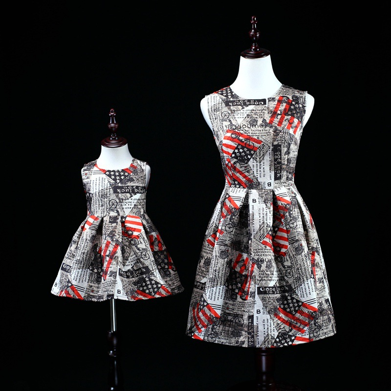 2018 Mommy and Baby Vintage Style Dress Mother Daughter Girls Dress Summer Sleeveless Tutu Skirt Family Wedding Dress Clothes girls clothes clothes woman vintage cloak dress long fish tail show stage banquet evening dress skirt mother daughter dresses