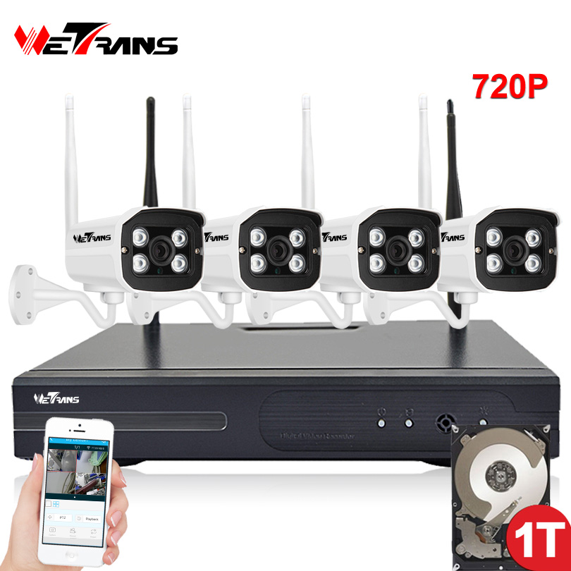 Wireless Security Camera System Outdoor Waterproof 20m IR Night Vision 720P HD 4CH Home Video Surveillance Wifi CCTV Camera Kit ahd wireless security camera system video surveillance kit 4ch wifi dvr kit hd 720p night vision wireless cctv ip camera kit set