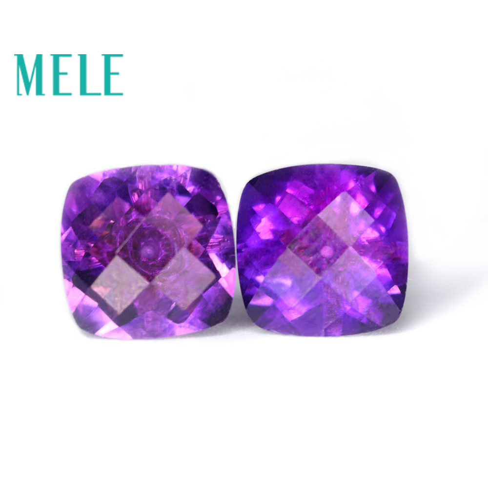 Natural Amethyst earrings stud for women and girl,18k Gold square cut fashion and simple new fine jewelry,colorful fire gemstone robira new brand set fashion stud earrings 18k rose gold color trendy balls earrings for women simple fine jewelry wholesale