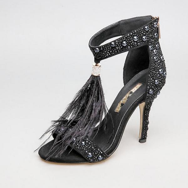 c0539e2e8b US $53.95 29% OFF|New Sexy Women Summer High Heel Sandals Genuine Leather  Rhinestone Genuine High Heel Feather Women's Wedding Shoes Female Pumps-in  ...