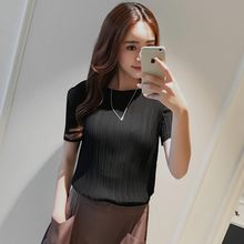 Pleated shirt female fold T-shirt solid color loose large code pleated skirt body length Chiffon T-shirt free shipping