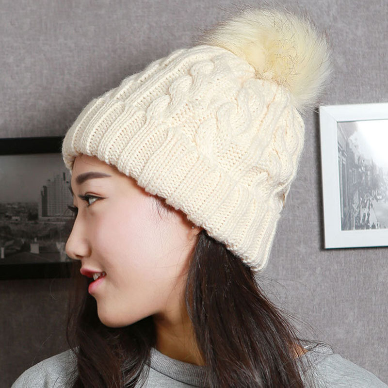 Fashion Velvet Knitted Hat with Ball Women Autumn Winter Hat For Women Fashion Warm Skullies Beanies Female Cap Free Shipping