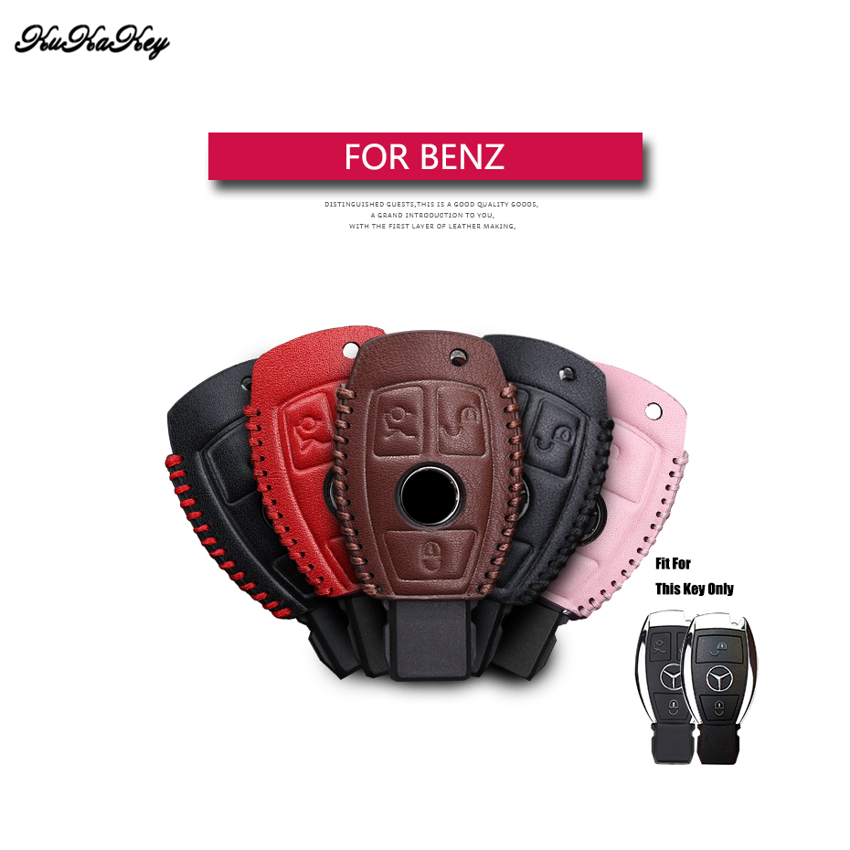 Genuine Leather <font><b>Remote</b></font> Keyless Car <font><b>Key</b></font> Case Cover For Mercedes Benz W203 W210 <font><b>W211</b></font> AMG C E S CLS CLK CLA <font><b>Key</b></font> Shell Bag For Benz image