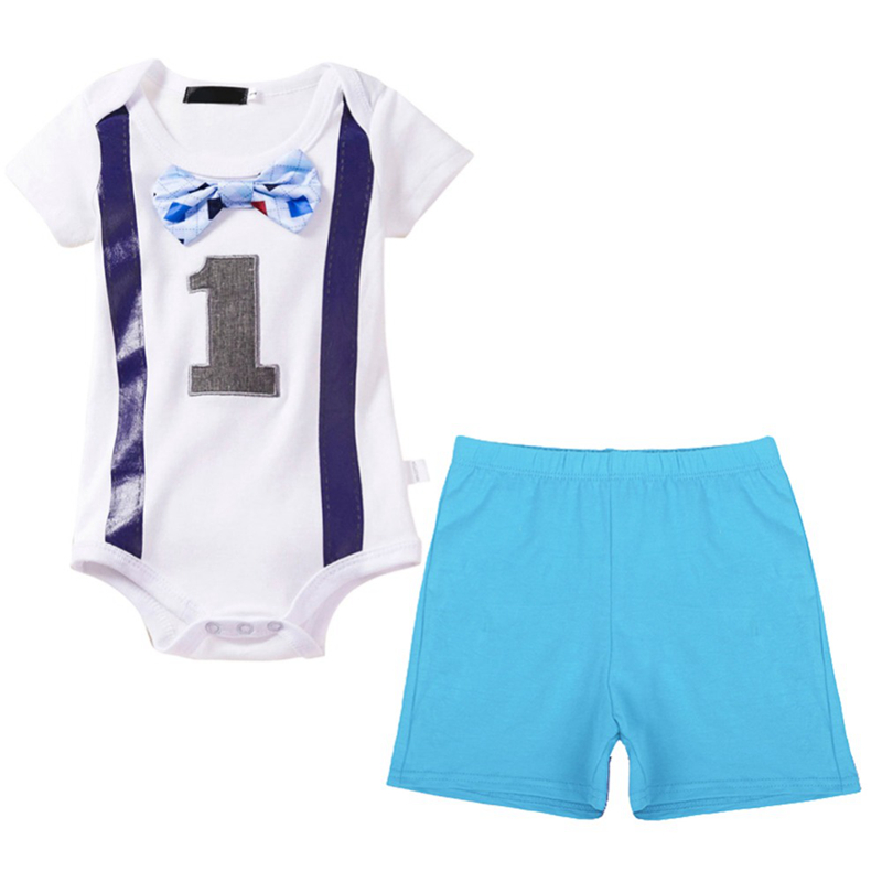 2pcs Set Cute Baby Boy Girl Clothes Baby First 1st Birthday Photo Shoot Costume Romper Bodysuit Shorts Pants Cake Smash Outfit