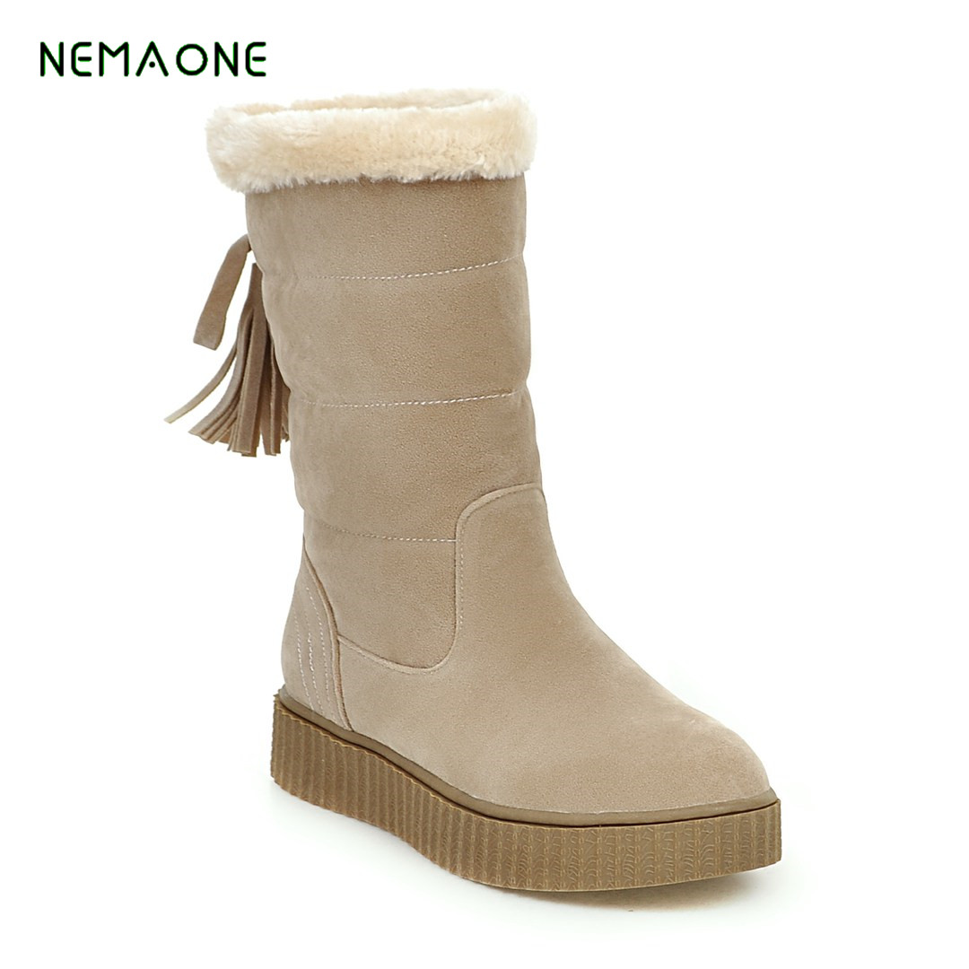 NEMAONE 2017 NEW Women Fashion Snow Boots New Arrival Winter Warm Short Plush Flock Women Ankle Warm Boots Fur Shoes