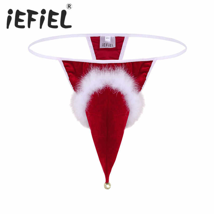 22719d4fbbb77 Newest Sexy Mens Male Lingerie Velvet Santa Hat Red Christmas Holiday Fancy  Cosplay G-string Thong Underwear with Small Bell