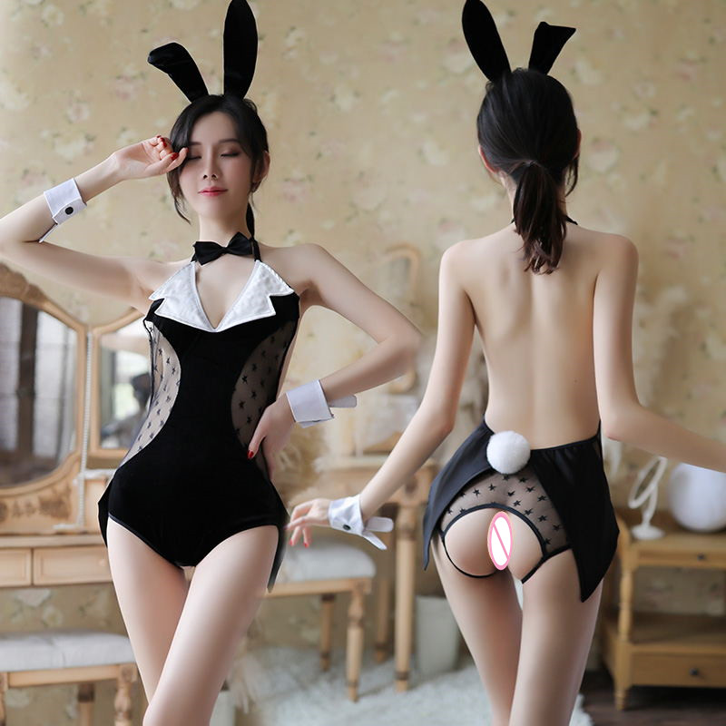 Sexy Lingerie Hot Costumes Bunny Girl Underwear Sleepwear Open Crotch For Women X7077