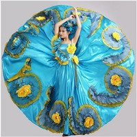 big swing blue handmade flower female costume banquet group dancce modern dance stage performance clothes
