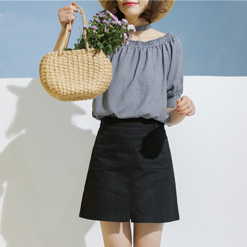 Miyahouse Summer High Waist Above Knee Pockets Skirt For Female Casual Simple Style Skirt Women Solid Color Slim Skirt Female